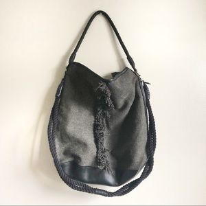 Free People Large Black Canvas Boho Bag